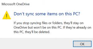 selective sync OneDrive