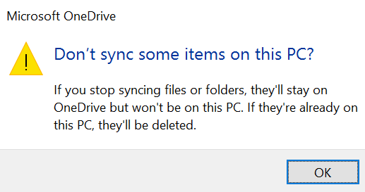 selective sync OneDrive